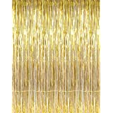 GOER 3.2 ft x 9.8 ft Metallic Tinsel Foil Fringe Curtains for Party Photo Backdrop(Gold,1 pack)