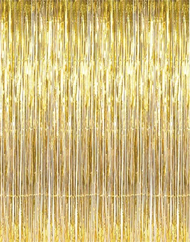 GOER 3.2 ft x 9.8 ft Metallic Tinsel Foil Fringe Curtains for Party Photo Backdrop(Gold,1 pack) -