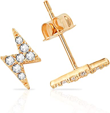 Amazon Com Little Lightning Bolt Stud Earrings With White Cz In 14k Yellow Gold Lightning Solid Gold 14k Earrings For Girls Women Jewelry