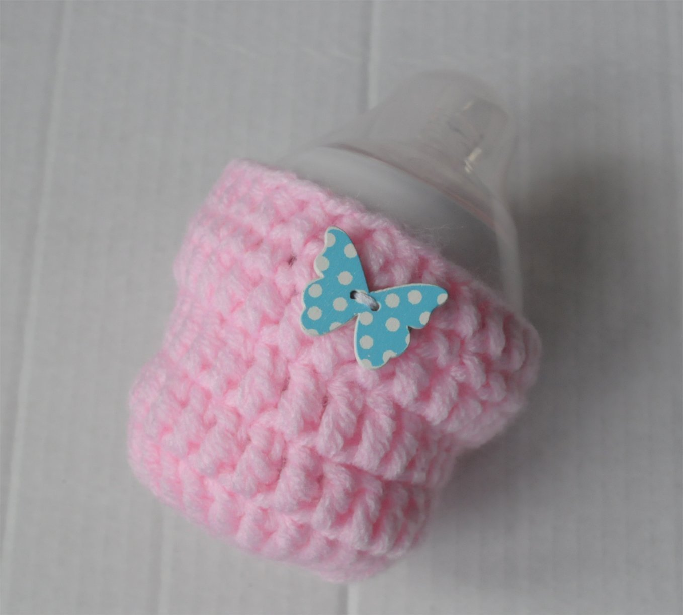 Pink Decorated Baby Bottle Cover Butterfly 150ml