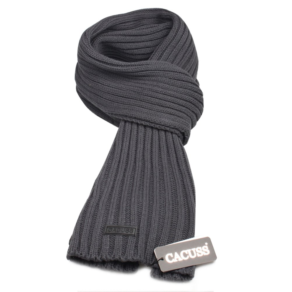 CACUSS Men's Long Thick Cable Cold Winter Warm Scarf Soft Knitted neckwear(Dark Gray)