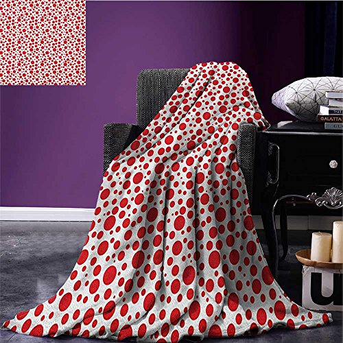 Abstract outdoor blanket Red Polka Dots on White Background Bubble Like Design Modern Pattern Print Custom made Vermilion White size:51