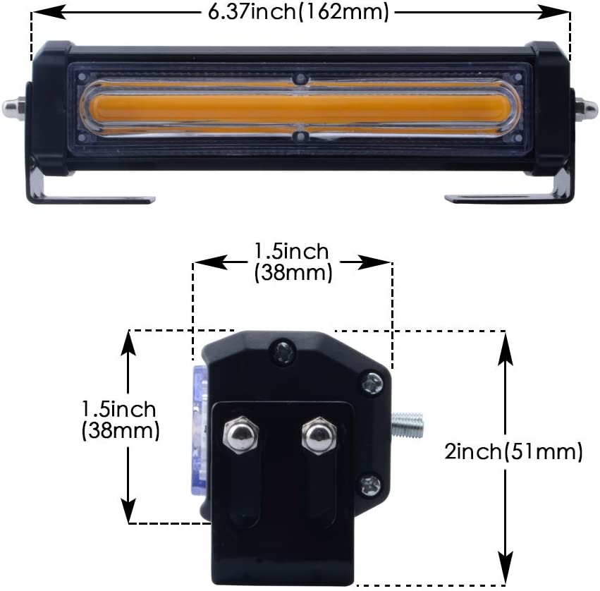 WOWTOU Amber Grille Light Head 16W Bright Linear LED Mini Strobe Lightbar Surface Mount for POV Utility Vehicle Construction Vehicle and Tow Truck Van