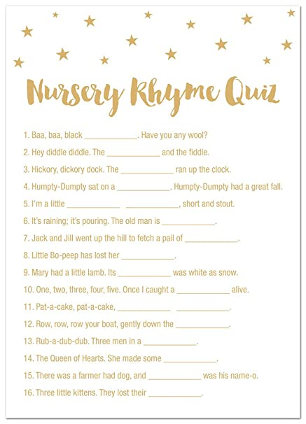 Amazon Com 24 Cnt Gold Stars Baby Shower Nursery Rhymes Quiz