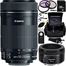 MUST HAVE Dual Lens Kit for Canon Rebel T1i, T2, T3i, T4i, T5i, T6i, T6s, SL1, 60D, 70D, 7D, 7D Mark II 760D 750D Digital SLR Cameras. Includes Canon EF-S 55-250mm f/4-5.6 IS STM Lens + Canon EF 50mm f/1.8 STM Lens + 32GB Memory Card + MUCH MORE - International Version (No Warranty)