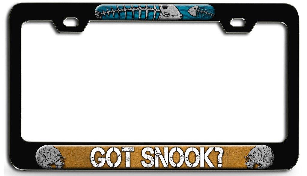 GOT SNOOK FISHING FISH Black Metal License Plate Frame Tag Holder