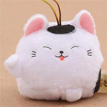 Kawaii Colgante de peluche pequeño gato blanco mancha negra correa dorada Puchimaru