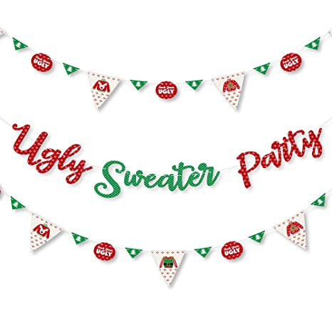 big dot of happiness ugly sweater holiday christmas party letter banner decoration 36