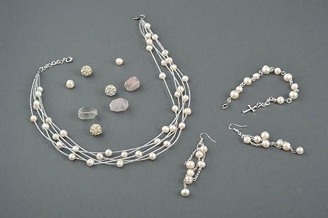 0f9f559e23aa Bisuteria artesanal pulsera collar y pendientes de perlas accesorios de  mujer