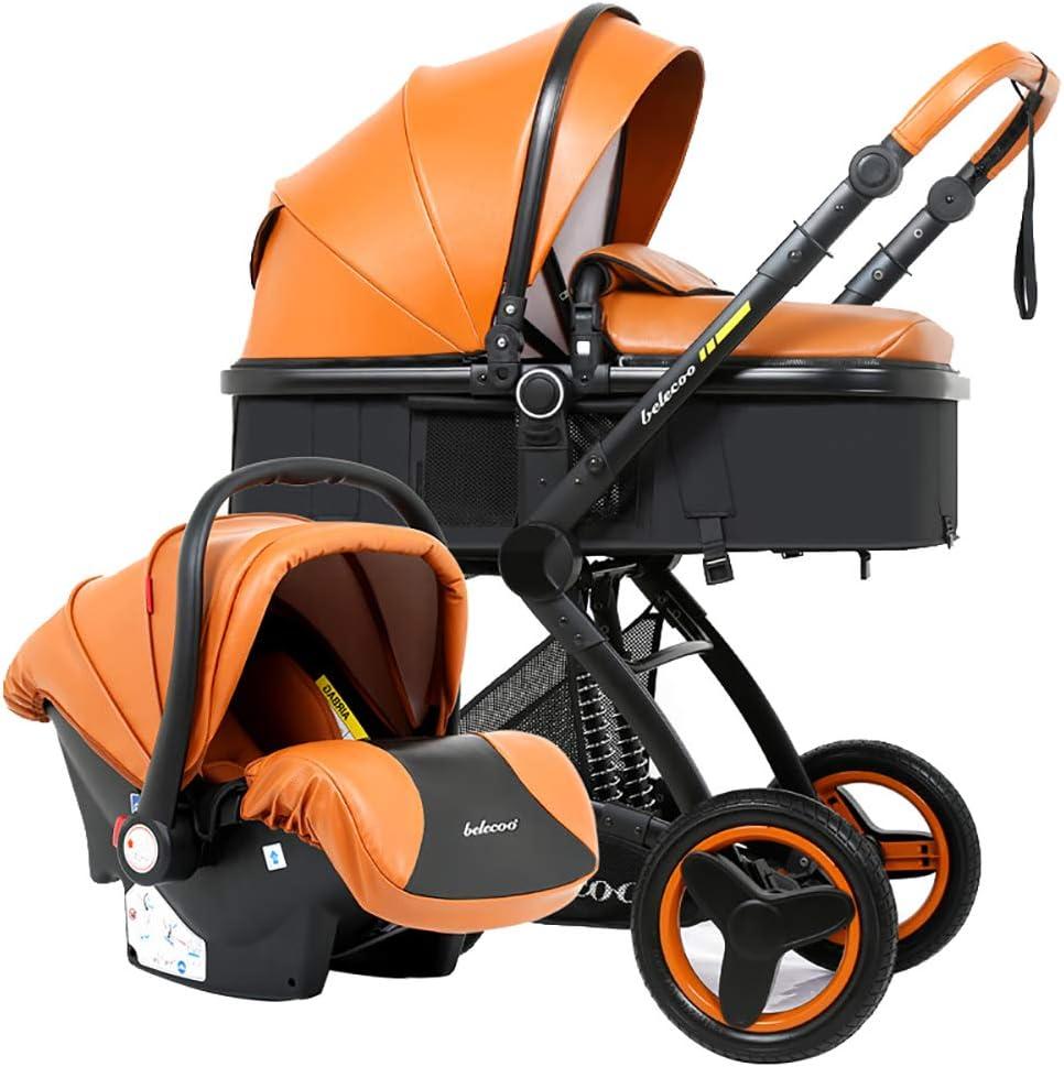 強いMultifunctionTravelシステム、折り畳み式バギー缶座り/横たわる、0から36ヶ月間のキャリッジ、新生児乳母車用の高品質ベビーカー 子供向け, Orange