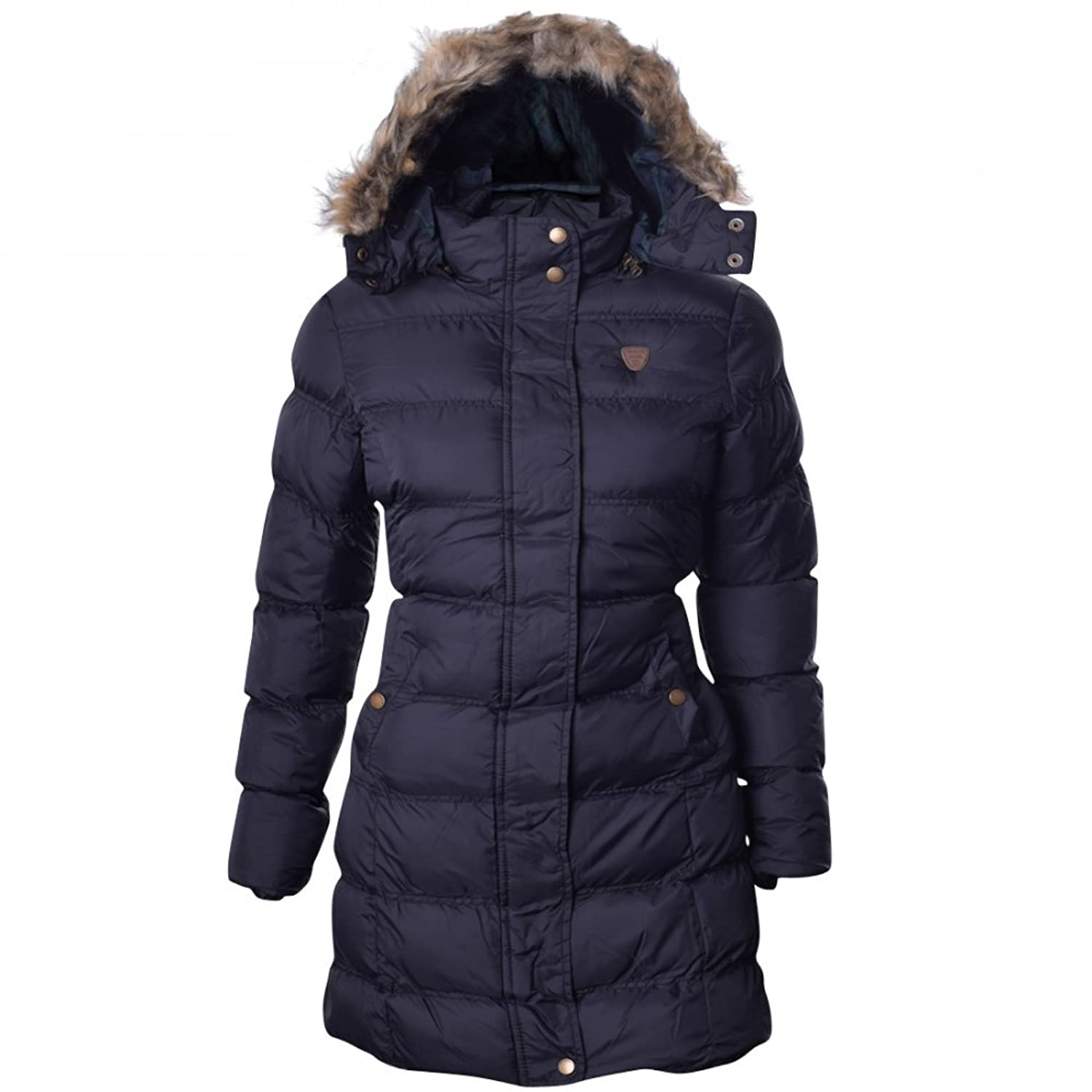 Womens Brave Soul Long Fur Trimmed Hooded Padded Puffer Parka ...