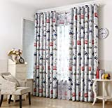 Boys Curtains AiFish 1 Panel Cartoon Cars and Bus Printed Kids Room Blackout Curtains Room Darkening Thermal Insulated Window Panel Drapes for Boys Girls Bedroom W39 x L84 inch