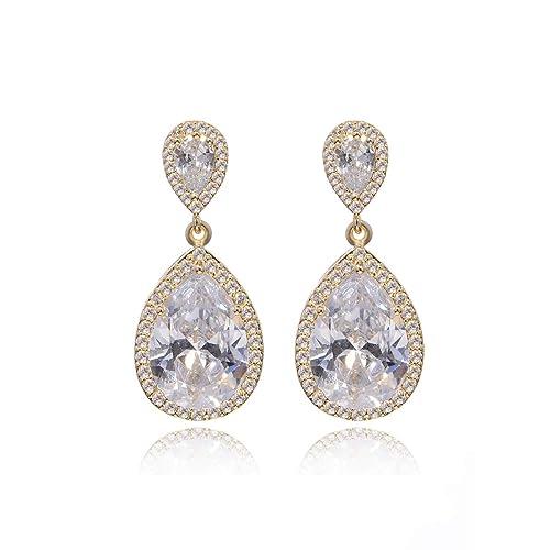 c40bf2915a9c2 Teardrop CZ Bridal Earring Women's Elegant Sterling Silver Cubic Zirconia  Cluster Floral Leaf Crystal Rhinestone Wedding Dangle Drop Earring for  Bride ...