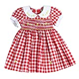 sissymini Infant and Toddlers (12M-4T) Soft Cotton Plaid Hand Smocked Dress | Cacey Cohen's Classic Plaid (RED, 24M)