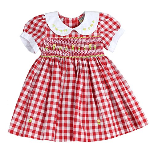 sissymini - Infant and Toddlers (12M-4T) Soft Cotton Plaid Hand Smocked Dress | Cacey Cohen's Classic Plaid (RED, 12M)]()