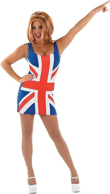 Fun Shack Azul Vestido Union Jack Disfraz para Mujeres - S: Amazon ...