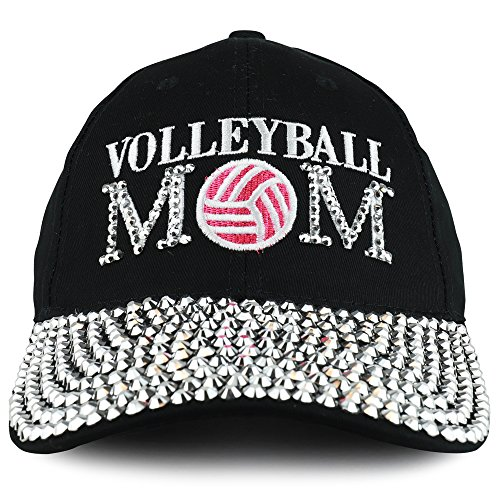 Trendy Apparel Shop Volleyball Mom Embroidered and Stud Jeweled Bill Unstructured Baseball Cap - Black ()