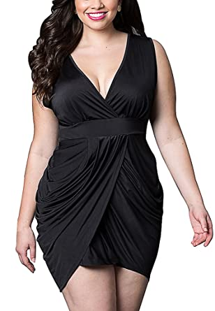 Amazon Manzocha Women Plus Size Sleeveless Deep V Sexy Slit