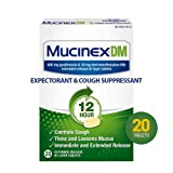 Cough Suppressant and Expectorant, Mucinex DM 12 Hr Relief Tablets, 20ct, 600 mg Guaifenesin, 30 mg Dextromethorphan HBr, Controls Cough and Thins & Loosens Mucus That Causes Cough & Chest Congestion