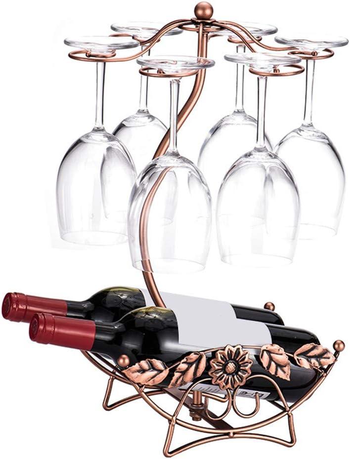 homeme Tabletop Wine Rack & Stemware Holder Holds 2 Bottle and 6 Glasses Freestanding Countertop Wine Glass Display Rack-Bronze