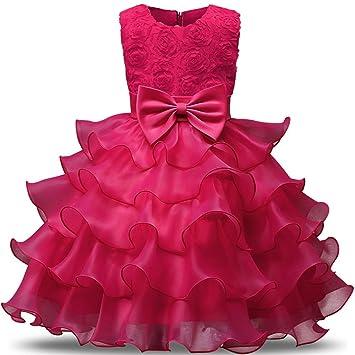 FXFAN Chica Rose Bow Vestido de Fiesta Princesa Tulle Boda Vestido de Bautismo de Dama de