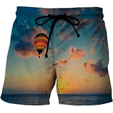 e9afbb7de9 Men's Swimwear Grid,SunsetWorkout Gym Running Tight Lifting ShortsHot Air  Balloon on Skyline with Horizon