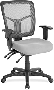 Lorell Swivel Mid-Back Chair, Black/Gray, 25-1/4 by 23-1/2 by 40-1/2-Inch