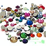 Mixed Sizes & Colors 144 pieces Swarovski 2058/2088 Crystal Flatbacks rhinestones nail art mixed with Sizes ss5, ss7, ss9, ss12, ss16, ss20, ss30
