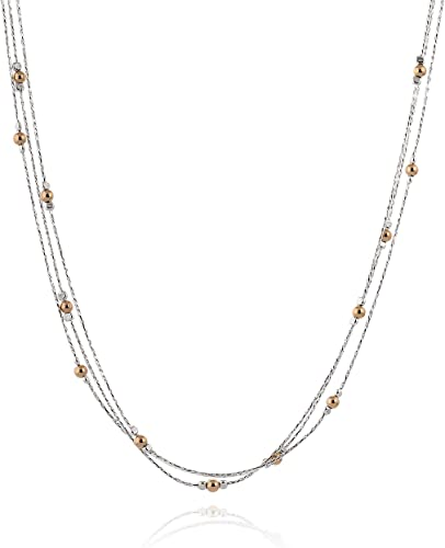 SPECTACULAR AAA STERLING 925 SILVER 3-TONE NECKLACE LENGHT 18 INCH.