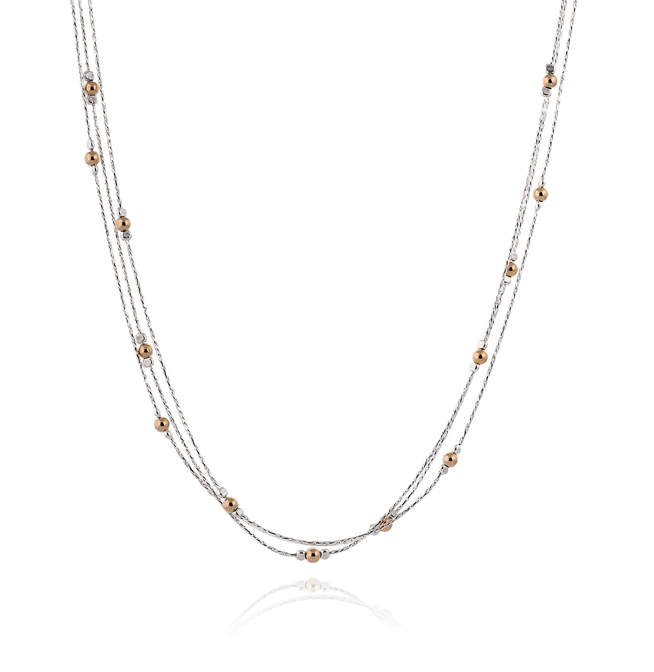 Triple Strand Two Tone Necklace 925 Sterling Silver & 14k Gold Filled Polished Beads, 18'' + 4'' Extender