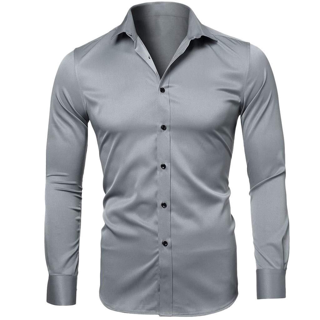 QBQCBB Men Casual Summer Solid Button Long Sleeve Turn-Down Collar T-Shirt Top Blouse(Gray,XXL)