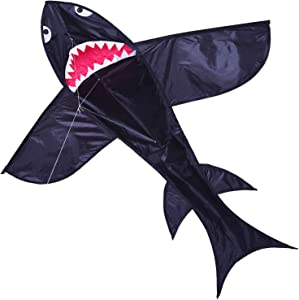 Zhuoyue Shark Kite Large 5 ft Single Line Kite Flying for Kids and Adults, Ripstop 3D Kite Nylon Fabric with Flying Line