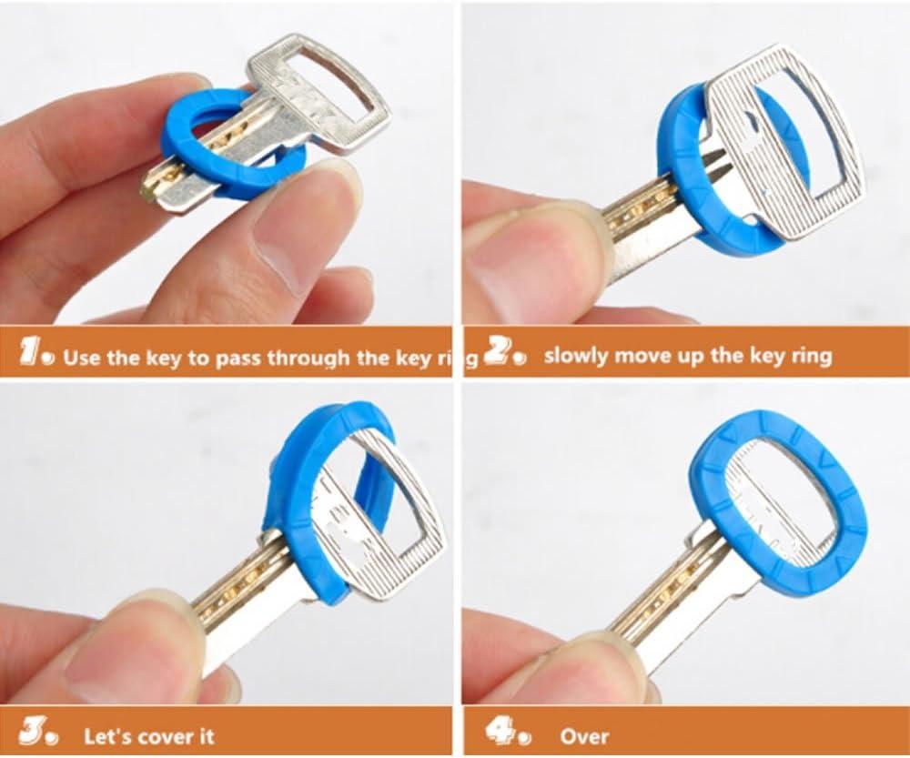 TXIN Bright Colors Hollow Silicone Key Cap Covers Topper Keyring Key Rings 8PCS