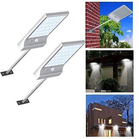 Lámparas Solares,STRIR 2pcs Solar Luces 36 LED Focos Exterior Impermeable con 120 Grados de