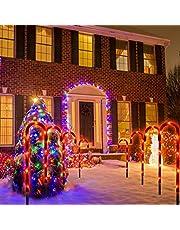 Festive łańcuchy świetlne LED z laskami cukrowymi – 10 sztuk łańcuchów świetlnych, markery do ścieżek bożonarodzeniowych, laski cukrowe, podświetlane laski cukrowe, dekoracja ogrodowa, dekoracja bożonarodzeniowa na zewnątrz