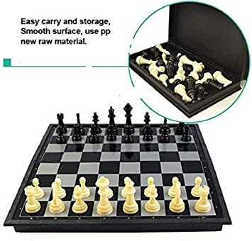 JAY ANTIQUES Folding Smooth Surface Magnetic Chess Board (Black and White, 9.5-inch)