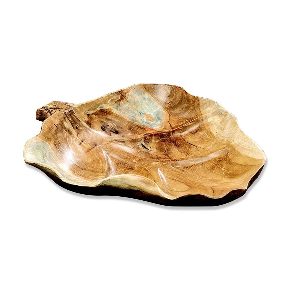 WHW Whole House Worlds Naturally Modern Teak Wood Leaf Bowl, Hand Crafted, Large Platter Size, Over 1 Ft Long (15 3/4 Inches) Warm Brown, Decorative, from The Made by Nature Collection