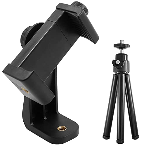 "Cell Phone Stand Tripod for iPhone 7 Plus, 7, 6, 6 Plus, 5, HTC Samsung LG, AFUNTA Universal Smartphone Holder Mount, 1/4""-20 Rotatable Vertical Bracket and 3.5""-6.1"" Telescopic Tripod Monopod"