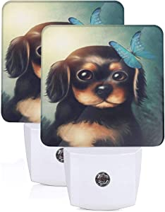 2Pc 3D Cute Puppy Dog Butterfly Led Nights Light with Auto Dusk to Dawn Sensor Night Lamp Plug in LED Home Decorative Bed Light for Kids Adults Room