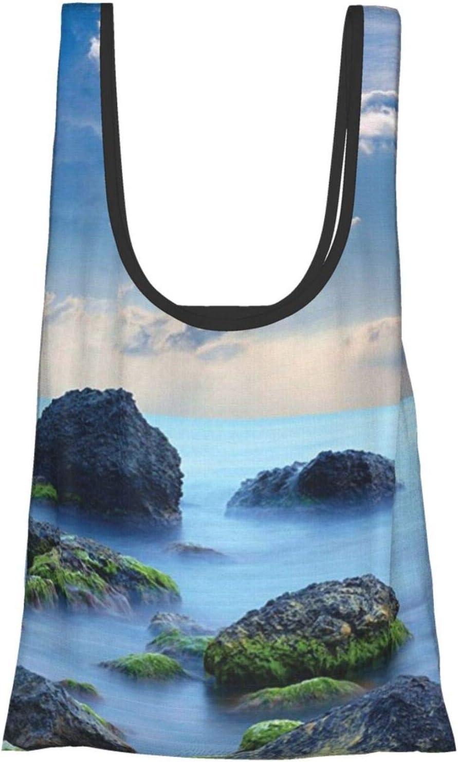 Hdaw Bolsas de la compra ecológicas y reutilizables con diseño de piedras de mar azules y caribe místico caribeño para niños y niñas