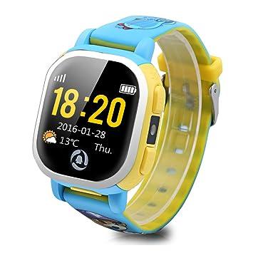 Tencent QQ - Smartwatch Pulsera de Reloj Infantil (Cámara, GPS, LBS, Wifi, Localizador Seguridad de Niños, SOS Llamada, Sim, Android IOS, IP65), Azul