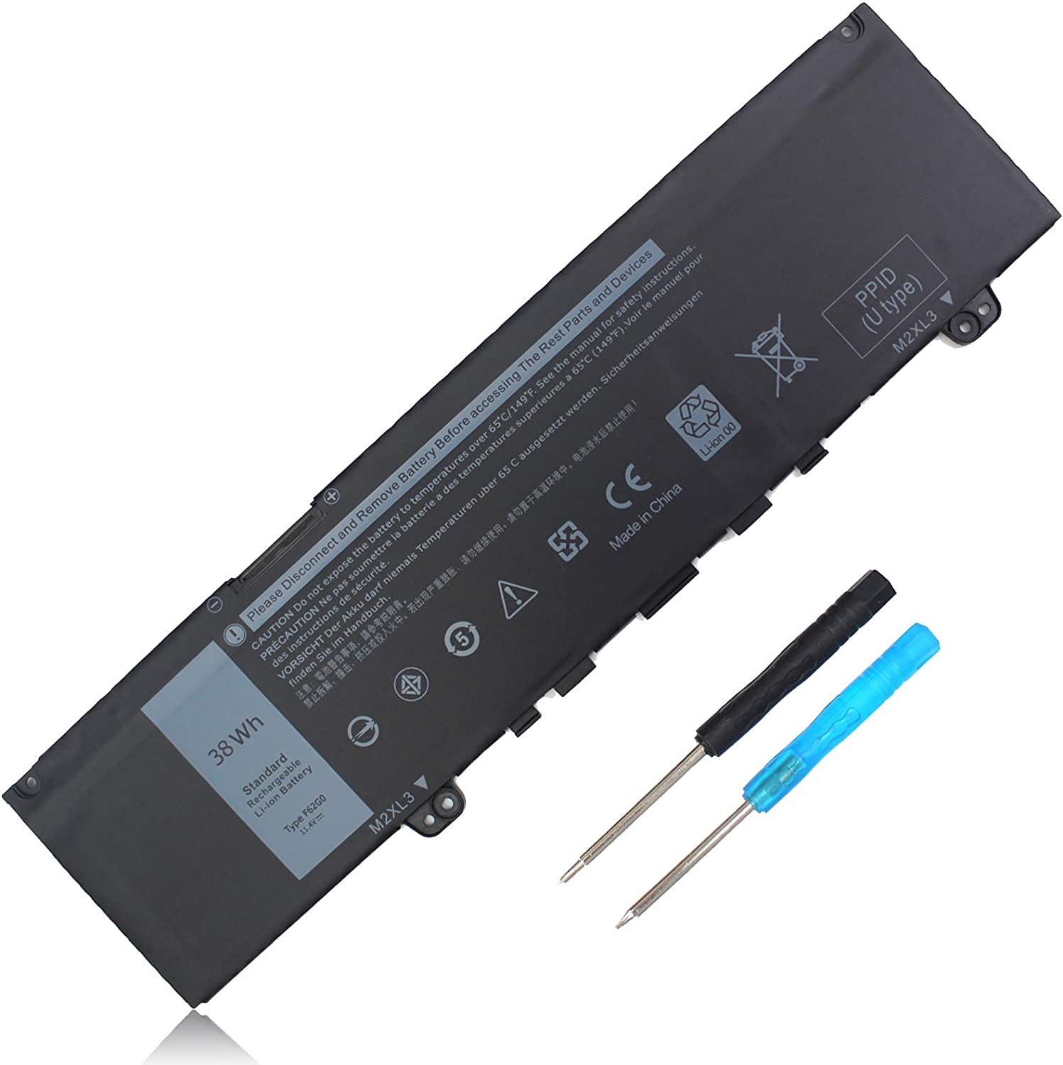 38WH Type F62G0 Laptop Battery Replacement for Dell Inspiron 7373 7370 5370 7380 7386 Vostro 5370 Series Notebook F62GO 039DY5 0YMYF6 0DHM0J 0YM5H6 0RPJC3 0TXWRR