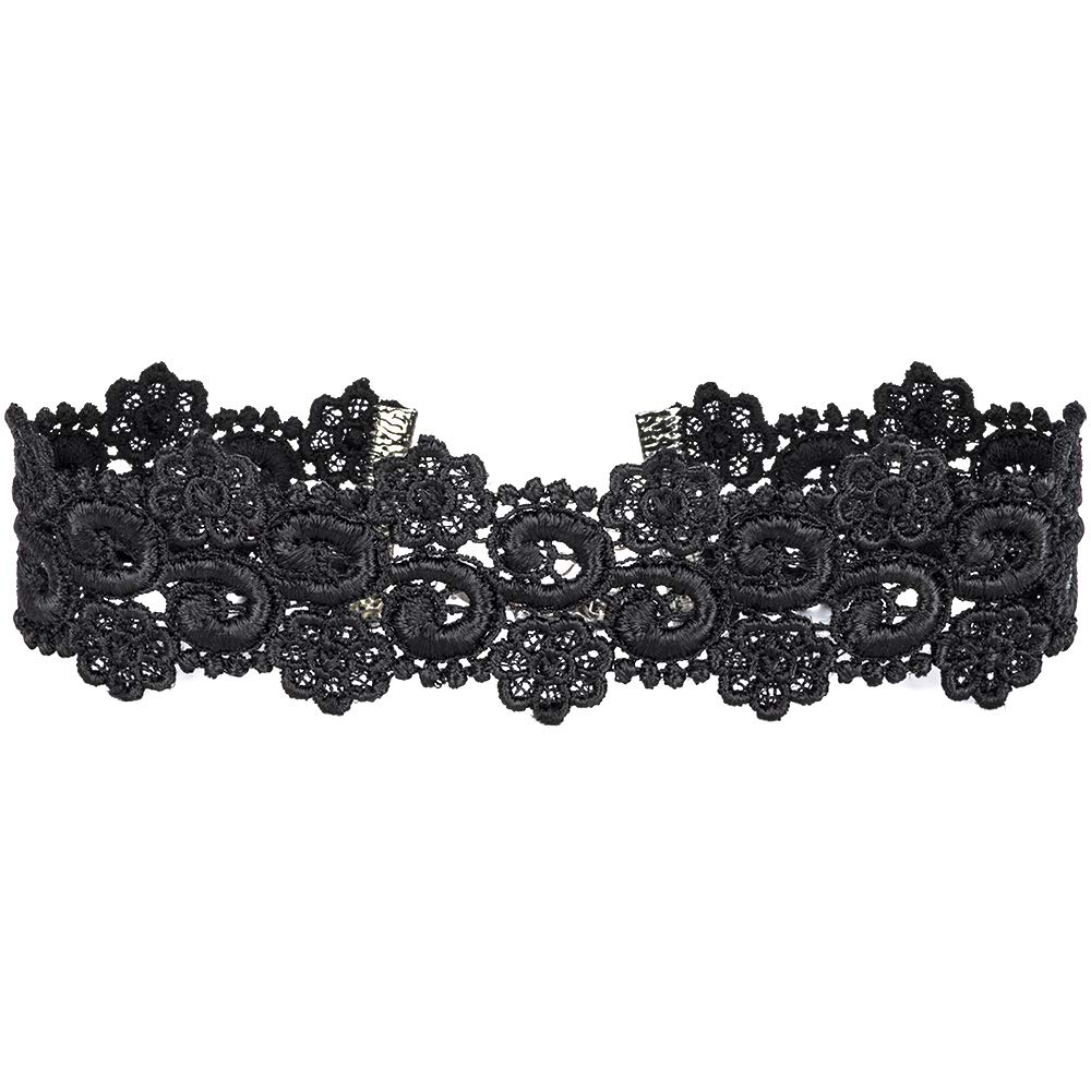 01d8b4fa9ea341 Twilight s Fancy Wide Floral Curl Venice Lace Choker Necklace (2 Colors