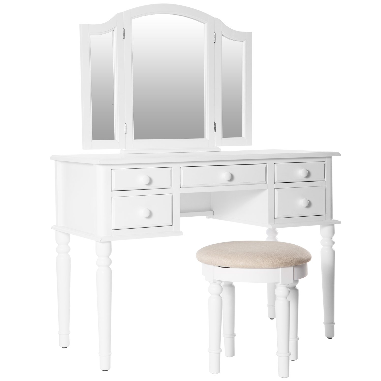 Merax. Ella Vanity Set w/Stool Makeup Vanity Dressing Table, Bedroom Vanity (White)