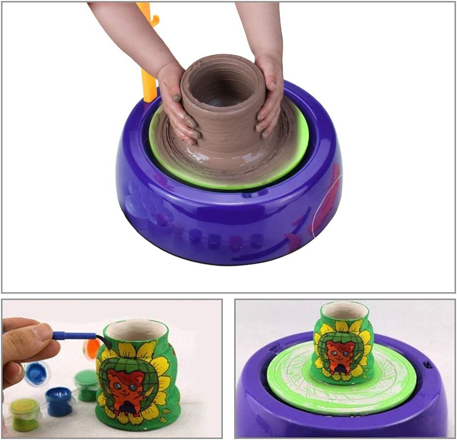 DIY Pottery Studio IAMGlobal Pottery Wheel Artist Studio Ceramic Machine with Air-Dry Clay Educational Toy for Kids Beginners Pink Craft Activity Art Craft Kit