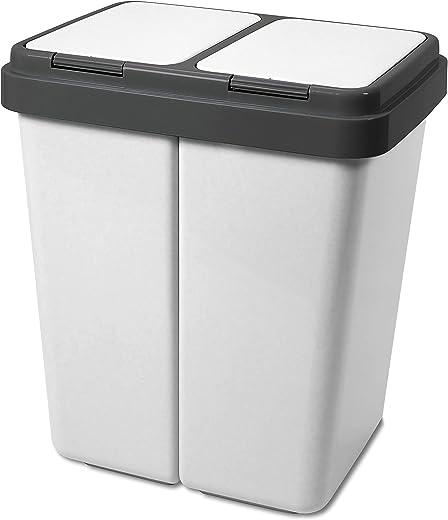 Alpfa Müllbehälter 2 x 30 Liter Duo Bin Grau Granit Made In Europe Inkl. 2 Ersatzfedern
