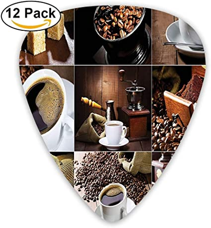 Different Photos Of Coffee Mugs And Roasted Bean Bags Grinder Sugarcubes Collage Guitar Picks 12/Pack: Amazon.es: Instrumentos musicales