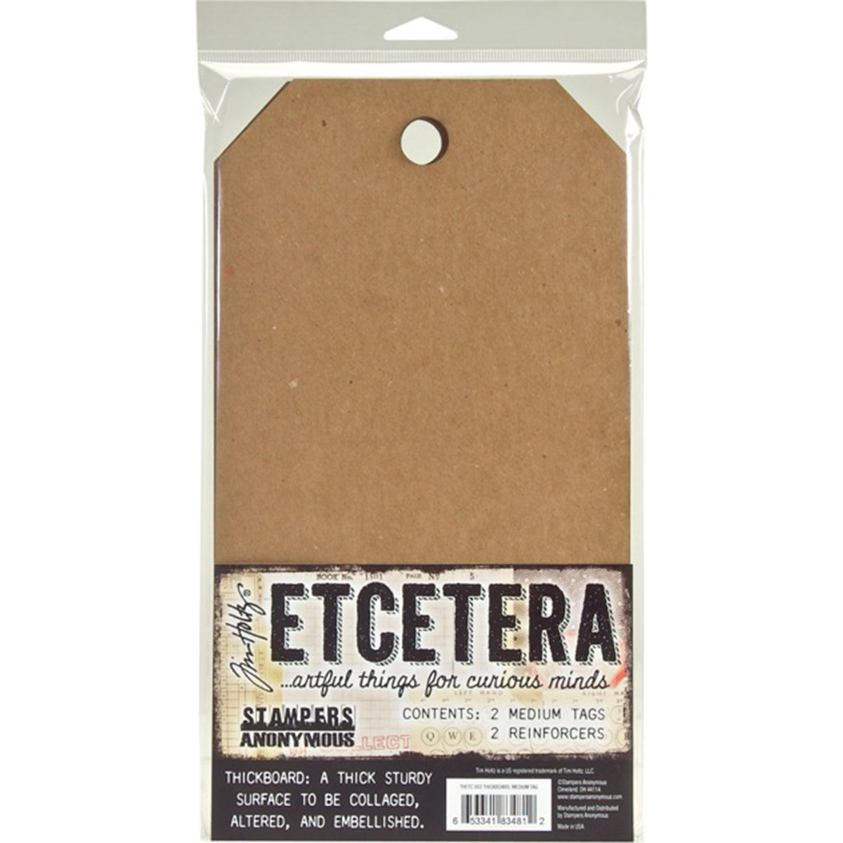 Stampers Anonymous THETC002 Tim Holtz Etcetera Medium Tag 6.5'X12'