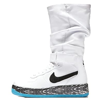 Womens Lifestyle Shoes Nike Air Force 1 Upstep Warrior N7 SneakerBoot White Dark Turquoise Black