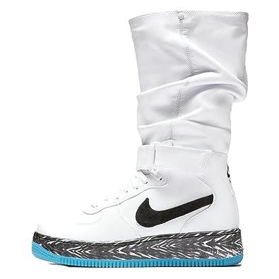 Womens Lifestyle Shoes Nike Air Force 1 Upstep Warrior N7 SneakerBoot White Dark Turquoise Black